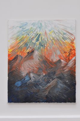Montagne aux feux - huile sur toile